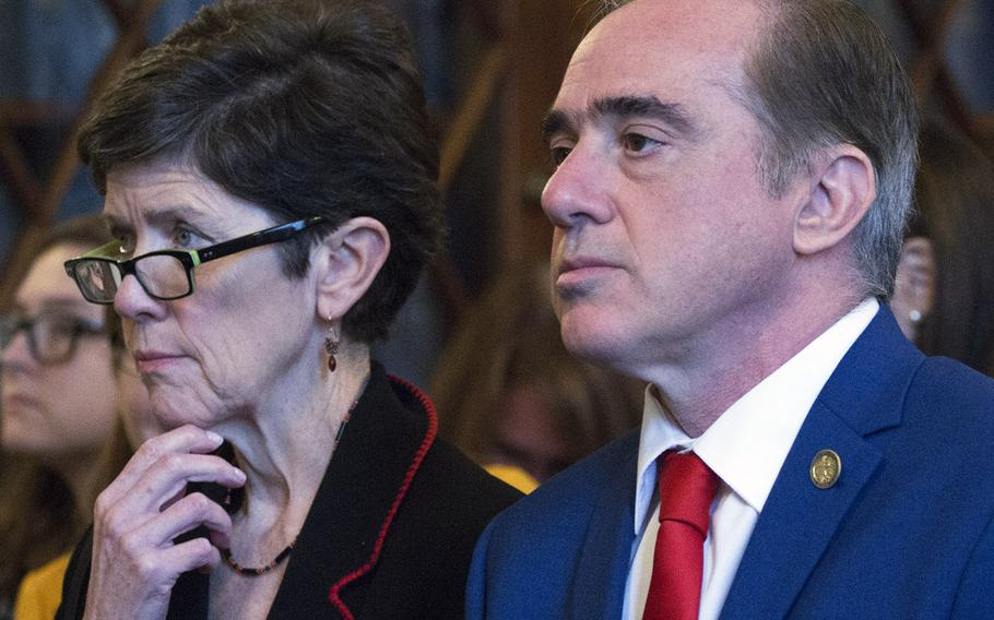 VA Secretary David Shulkin and Veterans Health Administration Executive in Charge Carolyn Clancy listen to testimony during a House Veterans' Affairs Committee hearing on Capitol Hill, Oct. 24, 2017.