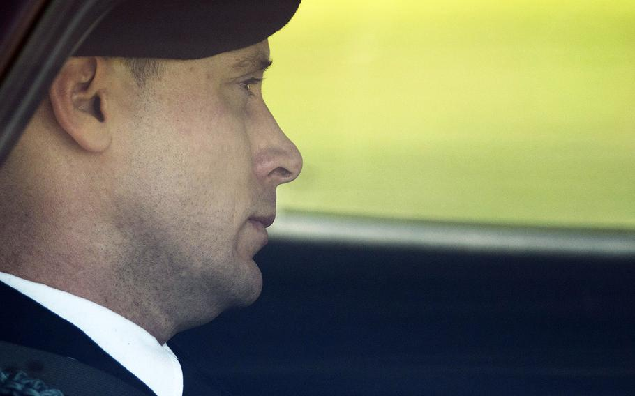 Army Sgt. Bowe Bergdahl leaves the Fort Bragg courtroom facility after a sentencing hearing on Tuesday, Oct. 31, 2017, on Fort Bragg, N.C.