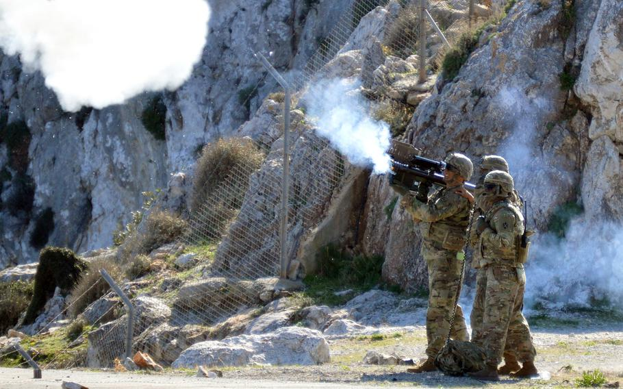 Spc. Matthew Williams from the 2nd Cavalry Regiment engages an aerial target with a Stinger anti-aircraft missle live-fire training as part of the Artemis Strike exercise held in Crete.