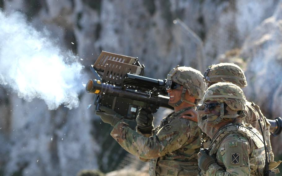 Spc. Matthew Williams of the 2nd Cavalry Regiment fires a Stinger missile during Artemis Strike, a live-fire exercise at the NATO Missile Firing Installation off the coast of Crete, Monday, Nov. 6, 2017.
