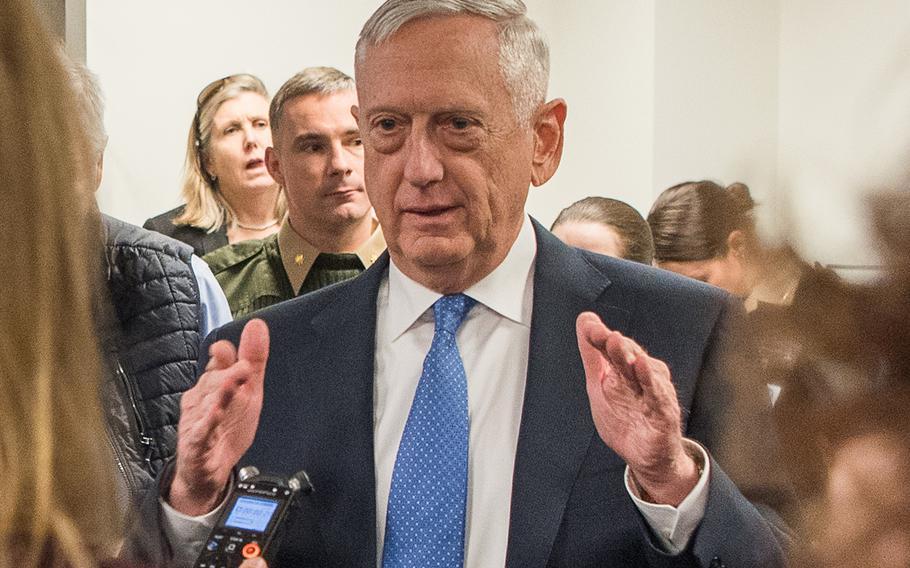 Defense Secretary James N. Mattis speaks with members of the press at the Pentagon in Washington, D.C., Jan. 5, 2018.