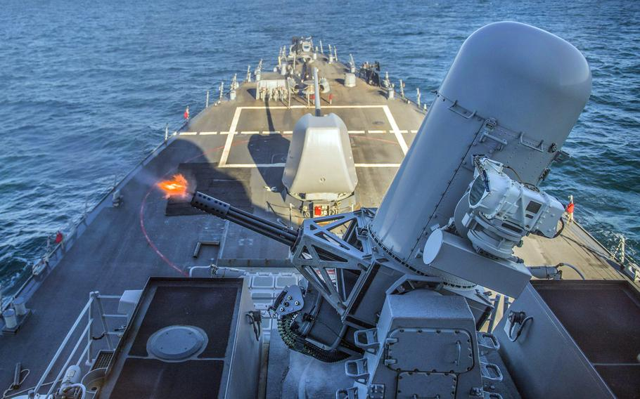 USS Carney fires a Phalanx close-in weapons system during a live-fire exercise in the Black Sea, Saturday, Jan. 6, 2018.