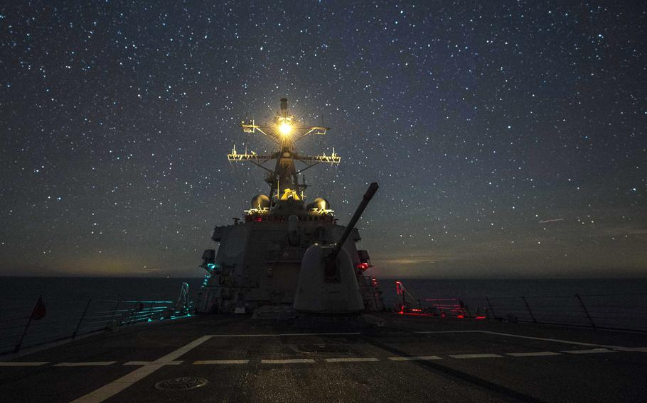 The Arleigh Burke-class guided-missile destroyer USS Carney  operates in the Black Sea, Sunday, Jan. 7, 2018.
