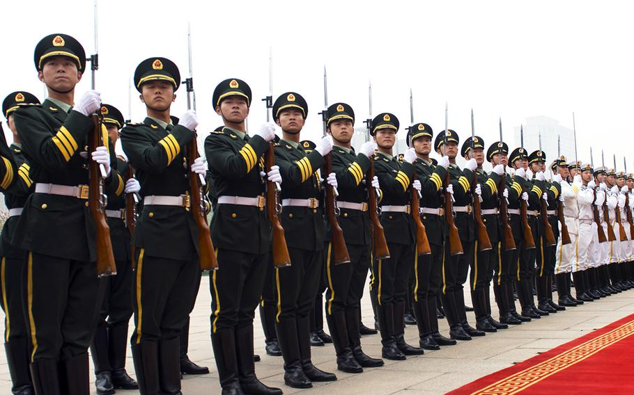 Members of a Chinese honor guard welcome dignitaries during a ceremony in Beijing on April 20, 2013. During a House hearing on Capitol Hill in Washington on Tuesday, Jan. 9, 2018, witnesses expressed concerns that the United States may be lagging behind China in developing new technologies.
