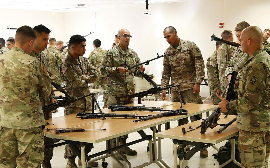 Soldiers from Task Force 1st Battalion, 28th Infantry Regiment conduct a foreign weapons training October 25, 2017 at Ft. Benning, Ga. TF 1-28 Soldiers are attached to 1st Security Force Assistance Brigade as a security element to advisors enabling advisory teams to focus on supporting their foreign security force partners.