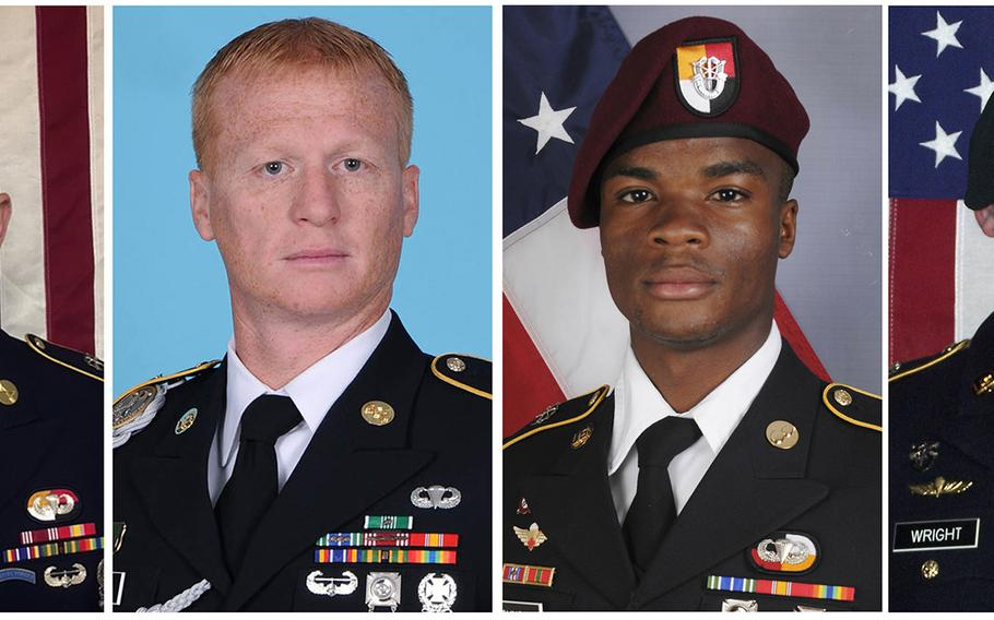 From left, Staff Sgt. Bryan C. Black, 35, of Puyallup, Wash.; Staff Sgt. Jeremiah W. Johnson, 39, of Springboro, Ohio; Sgt. La David Johnson of Miami Gardens, Fla.; and Staff Sgt. Dustin M. Wright, 29, of Lyons, Ga. All four were killed in Niger, when a joint patrol of American and Niger forces was ambushed on Oct. 4, 2017,  by militants believed linked to the Islamic State group.