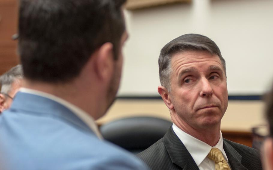 Rep. Rob Whittman, R-Va., fields a question after a House Committee on Armed Services hearing on Capitol Hill in Washington, D.C., on Thursday, Jan. 18. Whittman is the chairman of the committee's Seapower and Projection Forces Subcommittee.