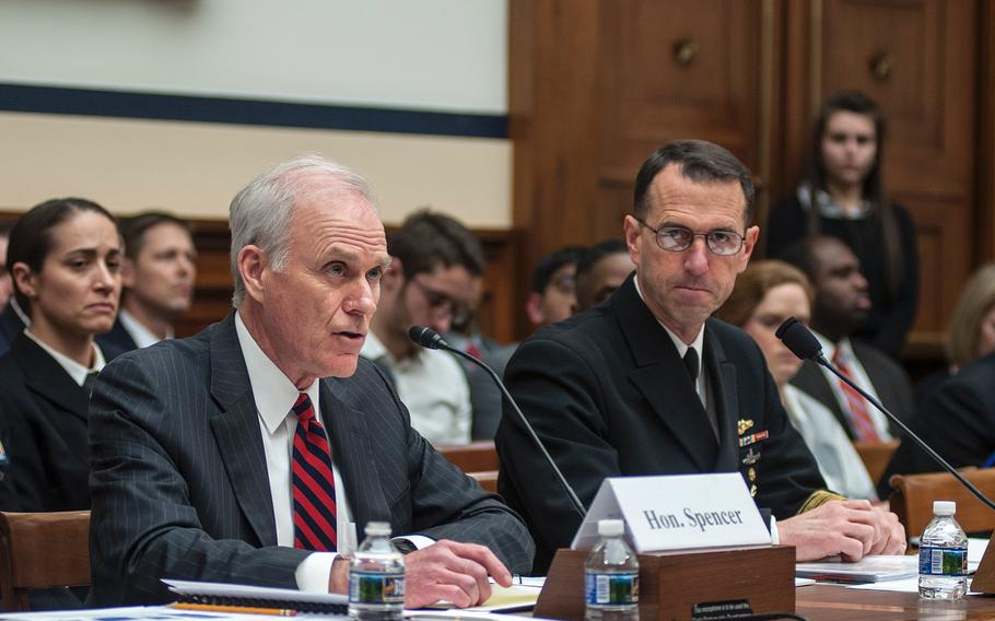 Secretary of the Navy Richard Spencer, left, answers questions during a House Committee on Armed Services hearing on Capitol Hill in Washington, D.C., on Thursday, Jan. 18, as Chief of Naval Operations Adm. John Richardson looks on.