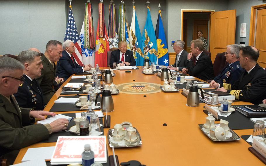 President Donald Trump speaks with Defense Secretary James N. Mattis  and Pentagon senior leaders during a meeting at the Pentagon in Washington, D.C., Jan. 18, 2018.