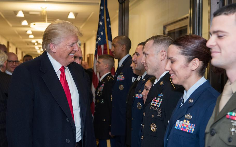 President Donald Trump speaks to servicemembers after a meeting at the Pentagon in Washington, D.C., Jan. 18, 2018.