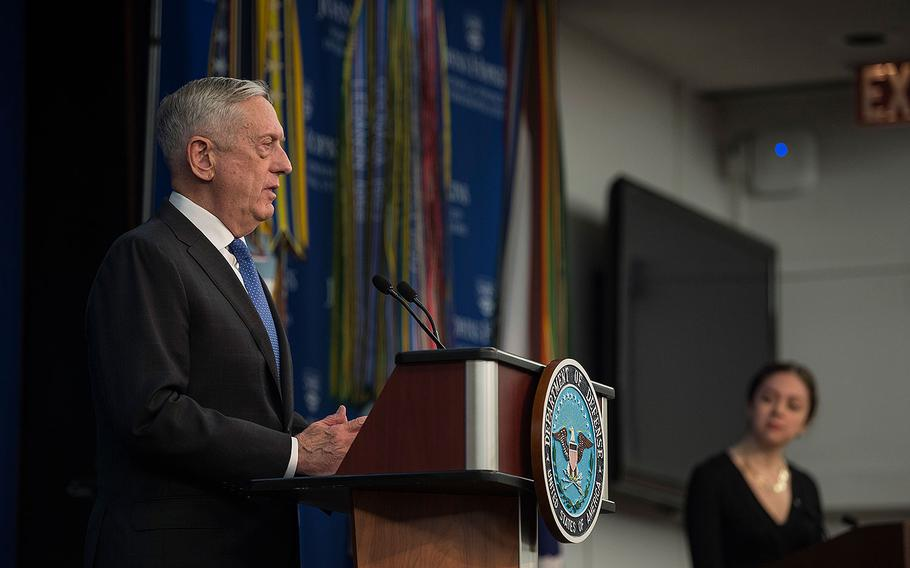 Secretary of Defense Jim Mattis announces the National Defense Strategy at Johns Hopkins University School of Advanced International Studies in Washington, Jan. 19, 2018.