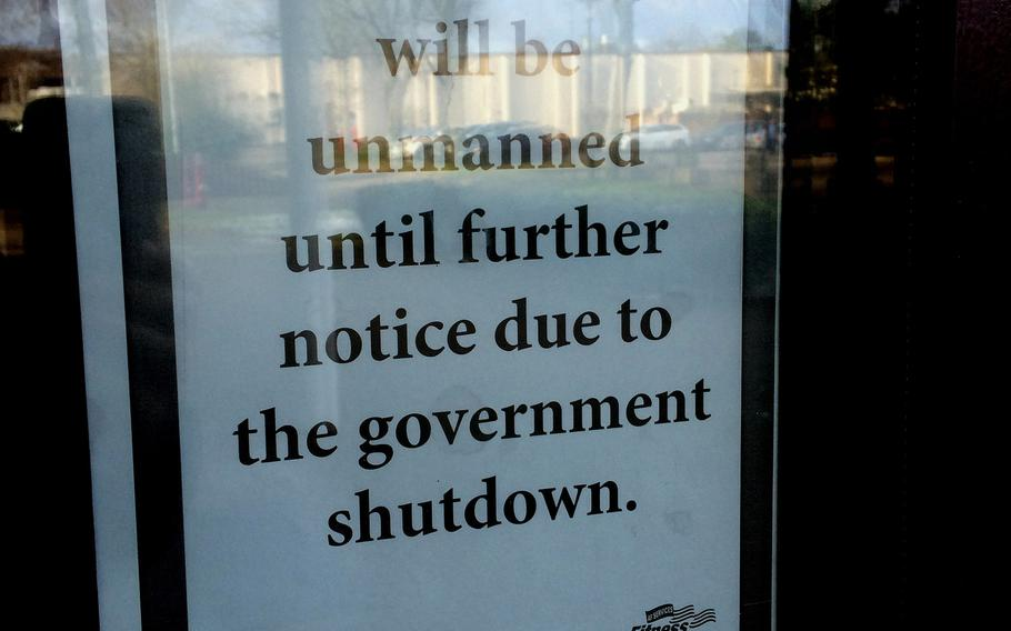 Some facilities on Vogelweh were closed or unmanned on Monday, Jan. 22, 2018, due to the government shutdown.