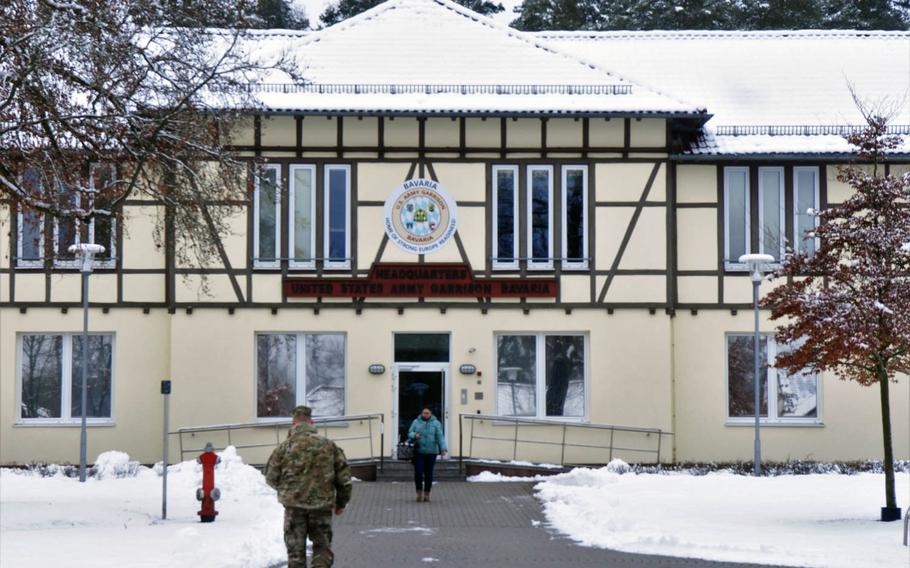 The headquarters building of U.S. Army Garrison Bavaria, Grafenwoehr, Germany, where several service were closed because of the shutdown of the federal government, Monday, Jan. 22, 2018.