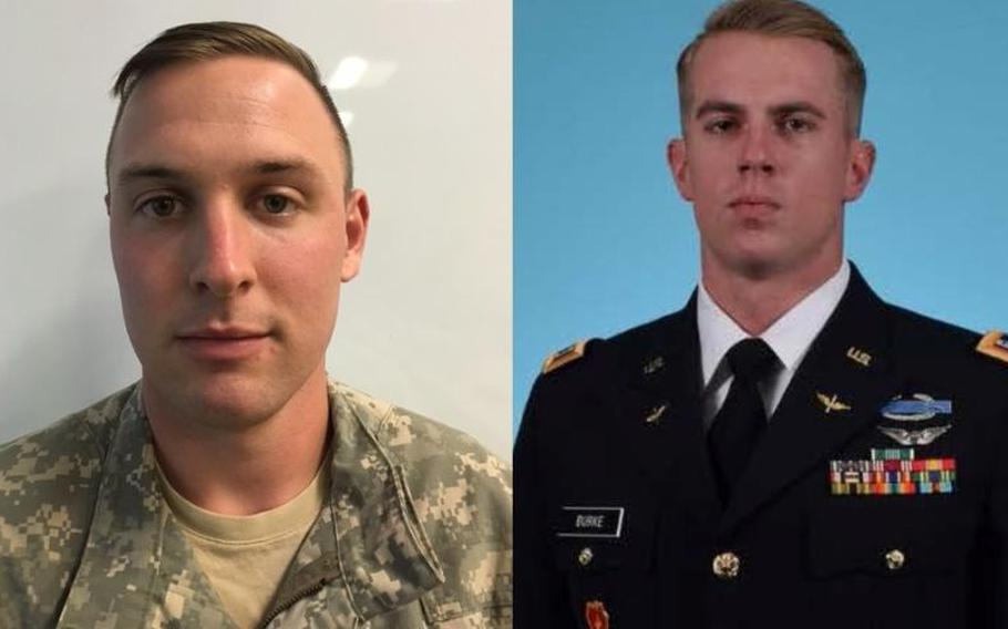 U.S. Army 1st Lt. Clayton Cullen, left, and Chief Warrant Officer 2 Kevin Burke were killed Saturday, Jan. 22, 2018, in a helicopter crash at Fort Irwin, Calif.