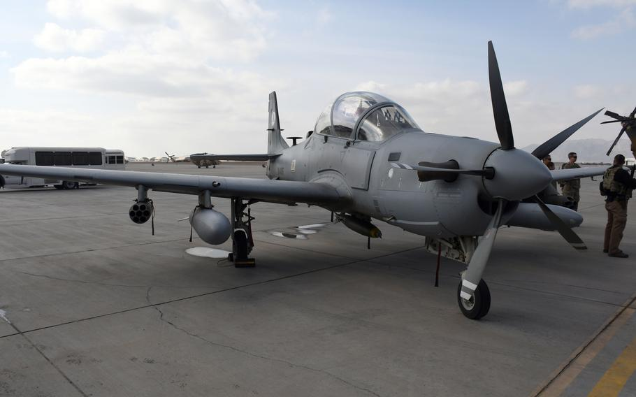 An A-29 Super Tucano of the Afghan air force on the tarmac  at Kandahar Air Field, Afghanistan, Tuesday, Jan. 23, 2018. The planes can be armed with conventional or smart bombs, machine guns and rockets.