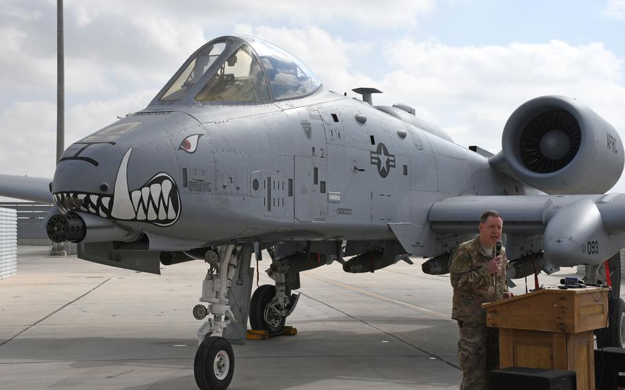 Maj. Gen. James Hecker speaks in front of an A-10 Thunderbolt II at Kandahar Air Field, Afghanistan, Tuesday, Jan. 23, 2018.