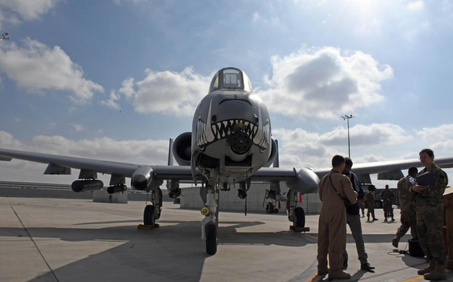 An A-10 Thunderbolt II of the 303rd Fighter Squadron sits on the tarmac at Kandahar Air Field, Afghanistan, Tuesday, Jan. 23, 2018.