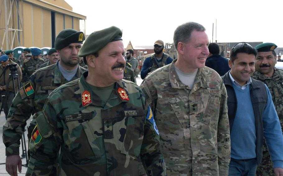 Maj. Gen. Mohammad Shoaib, Afghan air force commander, left, and Maj. Gen. James Hecker at Kandahar Air Field, Afghanistan, Tuesday, Jan. 23, 2018.