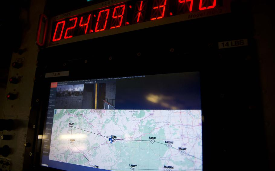 The flight plan for NASA's DC-8 Airborne Science Laboratory is displayed on one of the aircraft's monitors at Ramstein Air Base, Germany, on Wednesday, Jan. 24, 2018.