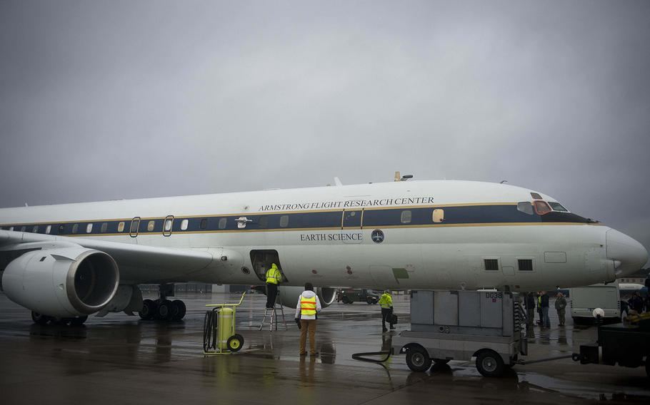NASA's DC-8 Airborne Science Laboratory from the Armstrong Flight Research Center near Edwards Air Force Base in California is prepped for a joint research flight at Ramstein Air Base, Germany, on Wednesday, Jan. 24, 2018.