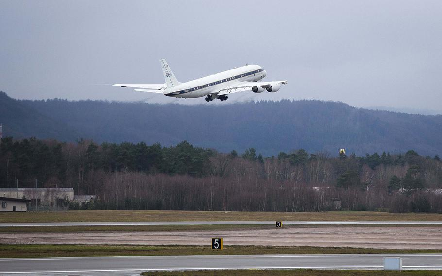 NASA's DC-8 Airborne Science Laboratory takes off at Ramstein Air Base, Germany, during a joint research flight on Wednesday, Jan. 24, 2018.
