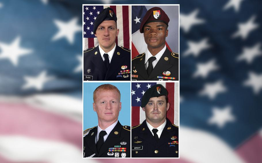 From left, Staff Sgt. Bryan C. Black, 35, of Puyallup, Wash.; Sgt. La David Johnson of Miami Gardens, Fla.; Staff Sgt. Jeremiah W. Johnson, 39, of Springboro, Ohio and Staff Sgt. Dustin M. Wright, 29, of Lyons, Ga. All four were killed in Niger, when a joint patrol of American and Niger forces was ambushed on Oct. 4, 2017, by militants believed linked to the Islamic State group.