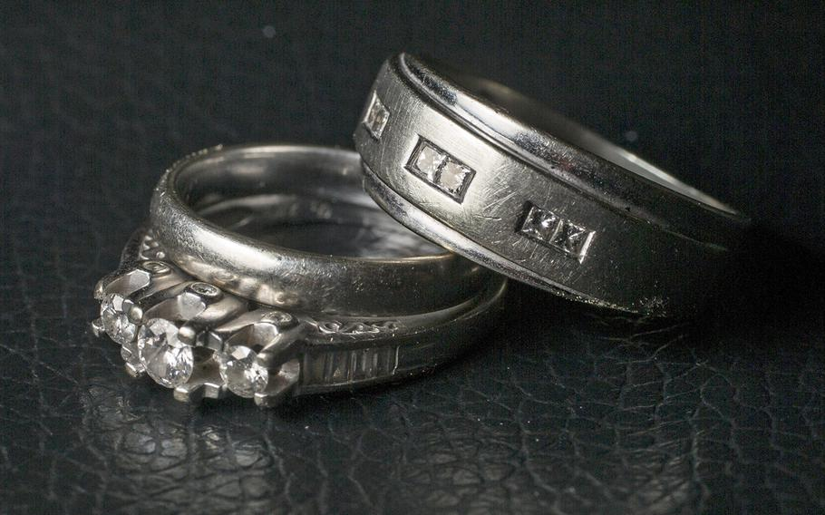 A photo illustration displaying wedding rings. A new study from the Department of Veterans Affairs and the University of Connecticut found that veterans who are married or are in a live-in relationship have a higher risk of suicide than their single counterparts.