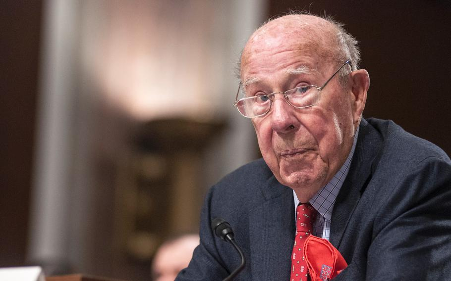 Former Secretary of State George Shultz addresses members of the Senate Armed Services Committee on Capitol Hill in Washington, D.C., on Thursday, Jan. 25, 2018.