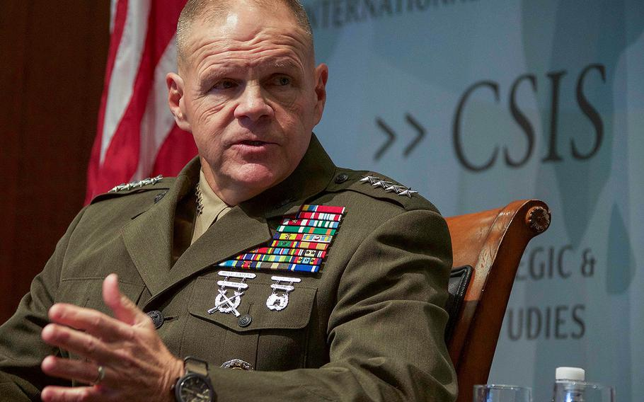 Commandant of the Marine Corps Gen. Robert B. Neller speaks to guests at the Center for Strategic International Studies, Washington, D.C., Jan. 25, 2018.
