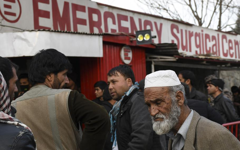 Afghans crowd outside Emergency hospital in Kabul, Afghanistan, on Saturday, Jan. 27, 2018, following a ambulance-borne bomb blast earlier in the day in an area of the city teeming with people.  Chad Garland/Stars and Stripes