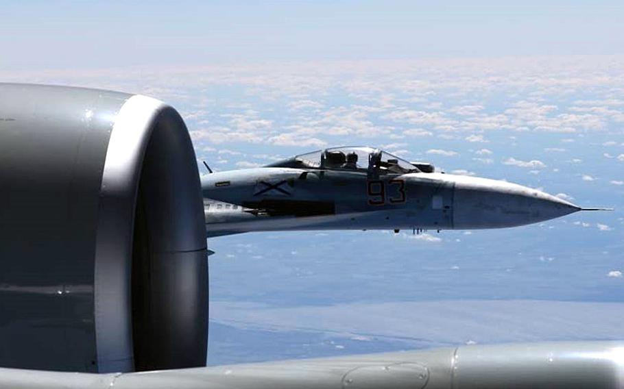 A U.S. RC-135U flying in international airspace over the Baltic Sea was intercepted by a Russian SU-27 Flanker June 19, 2017. On Monday, Jan. 29, 2017, a Russian fighter once again intercepted a U.S. jet, this time a Navy reconnaissance plane flying over the Black Sea.