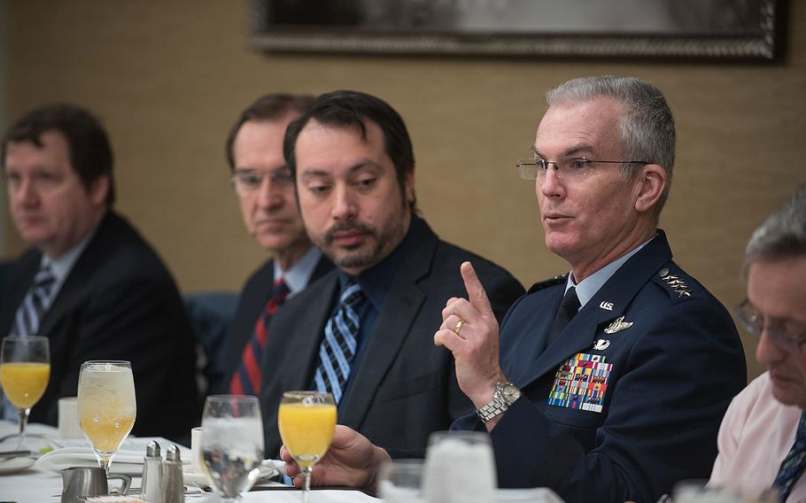 U.S. Air Force Gen. Paul J. Selva, vice chairman of the Joint Chiefs of Staff, speaks at a Defense Writers Group breakfast in Washington, D.C. on Jan. 30, 2018.