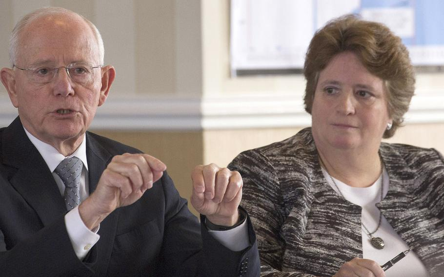 Former Secretary of Veterans Affairs and retired Army Lt. Gen. James Peake speaks at a roundtable discussion hosted by the Honor Subcommittee of the Advisory Committee on Arlington National Cemetery, Jan. 30, 2018 at Arlington, Va. Next to him is Renea Yates. Arlington's deputy superintendent for cemetery administration.