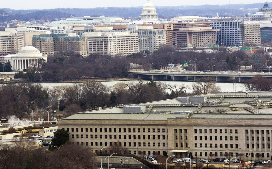 The Pentagon, with the Jefferson Memorial and U.S. Capiitol in the background, Jan. 30, 2018.