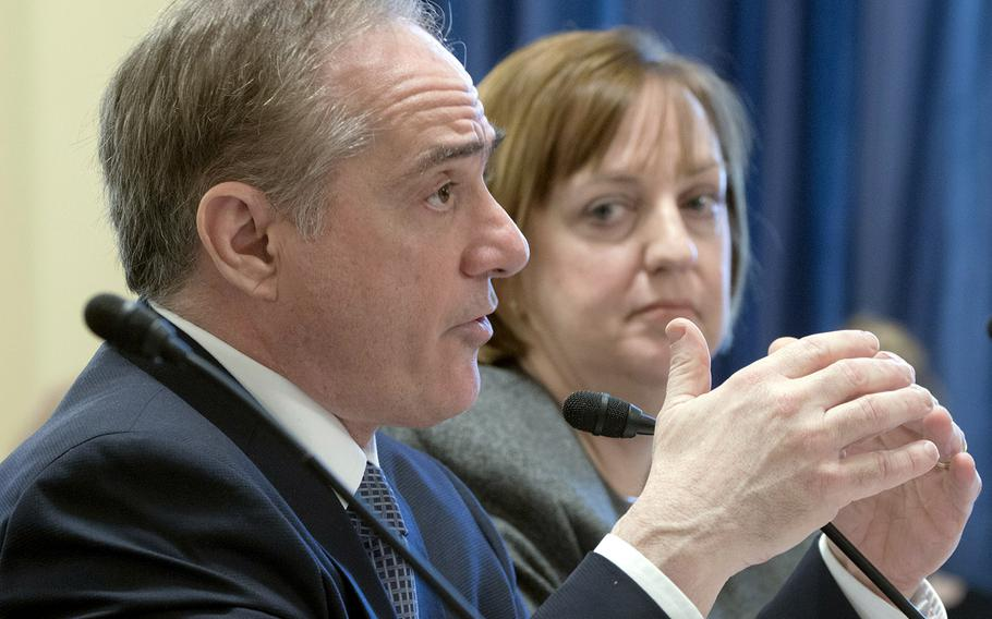 VA Secretary David Shulkin testifies at a House Veterans' Affairs Committee hearing on veteran caregivers, Feb. 6, 2018 on Capitol Hill. Next to him is Margaret Kabat, acting chief consultant on care management, chaplain and social work service for the Veterans Health Administration.