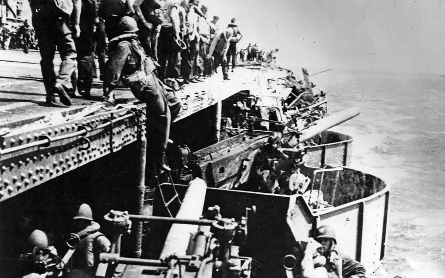 Damage is seen on the USS Lexington from a Japanese bomb during the Battle of the Coral Sea, May 8, 1942.