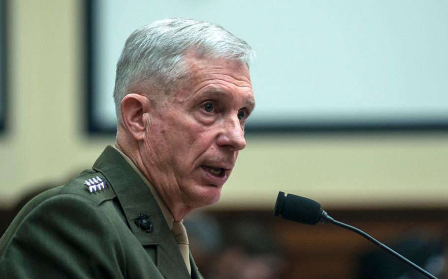 Gen. Thomas Waldhauser, commander of the U.S. Africa Command, testifies before the House Committee on Armed Services during a hearing Tuesday, March 6, 2018, on Capitol Hill in Washington, D.C.