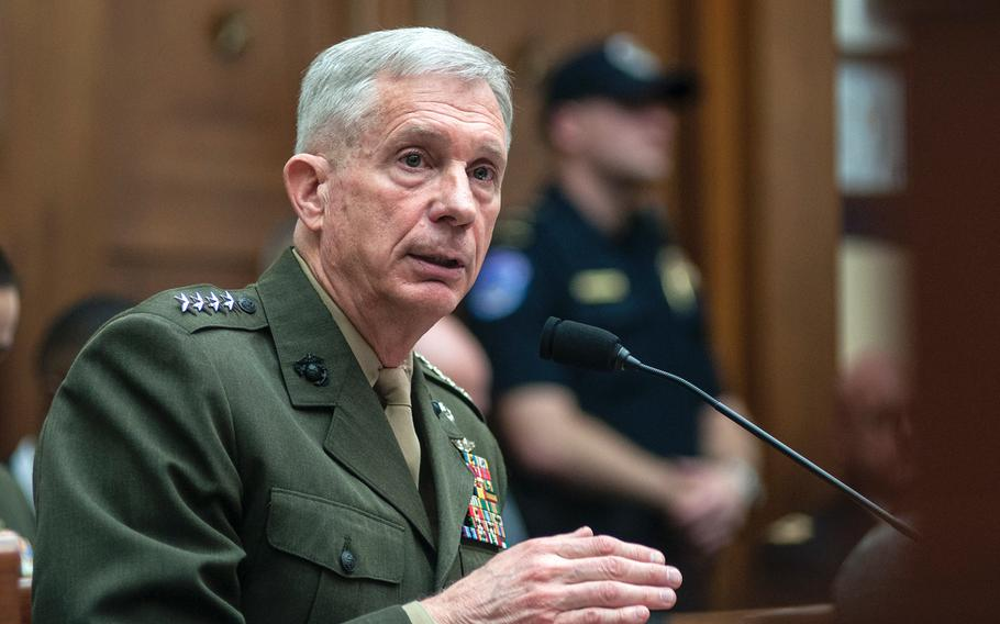 """Gen. Thomas Waldhauser, commander of the U.S. Africa Command, testifies before the House Committee on Armed Services during a hearing Tuesday, March 6, 2018, on Capitol Hill in Washington, D.C. Waldhauser told lawmakers that he predicts China will expand beyond Djibouti, where it now operates just """"outside our gate."""""""