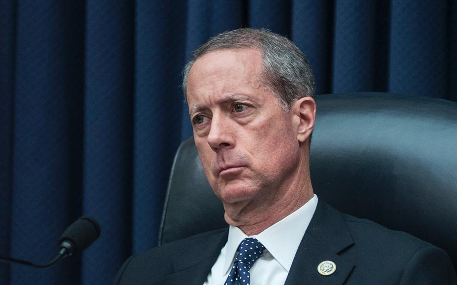 """Chairman of the House Committee on Armed Services Rep. Mac Thornberry, R-Texas, listens to testimony from Gen. Thomas Waldhauser, commander of the U.S. Africa Command,  during a hearing Tuesday, March 6, 2018, on Capitol Hill in Washington, D.C. Thornberry asked Waldhauser if there is anything in Africa that """"justifies sending United States men and women in there ... at risk of their lives?"""""""
