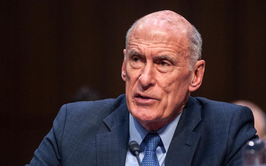 """Director of National Intelligence Dan Coats testifies during a Senate Armed Services Committee hearing Tuesday, March 6, 2018, on Capitol Hill in Washington, D.C. Commenting on news that North Korea was open to talks, Coats said """"maybe this is a breakthrough... I highly doubt it. Hope springs internal."""""""