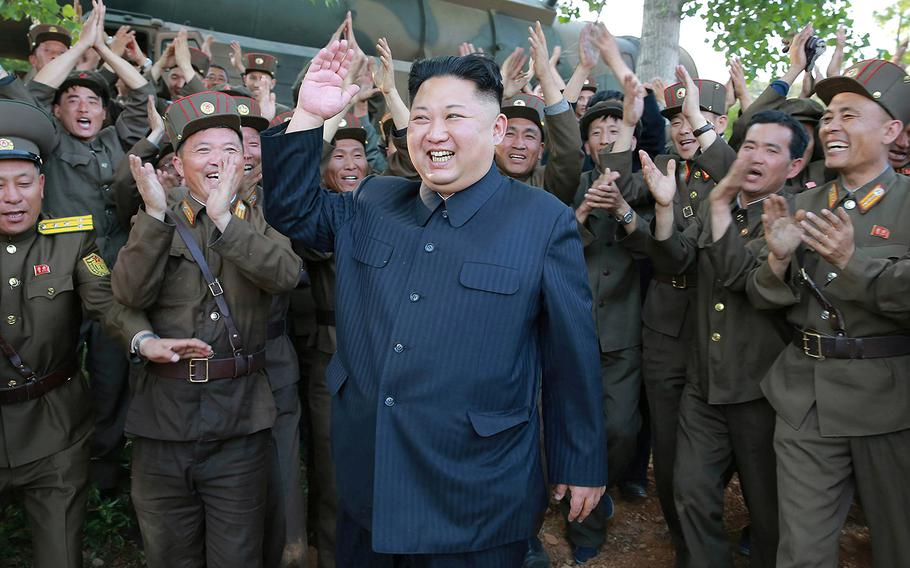 North Korean leader Kim Jong-un visits a Korean People's Army unit in an undisclosed location in North Korea in an undated photo from North Korean News Agency released in August 2017.