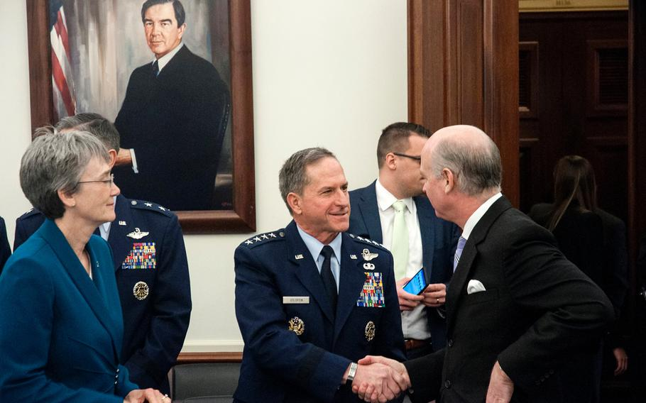Air Force Chief of Staff Gen. David Goldfein shakes hands with U.S. Rep. Robert Aderholt, R-Ark., prior to the start of a House Appropriations Subcommittee on Defense budget hearing on Capitol Hill in Washington, D.C., on Wednesday, March 14, 2018. Looking on at left is Secretary of the Air Force Heather Wilson.