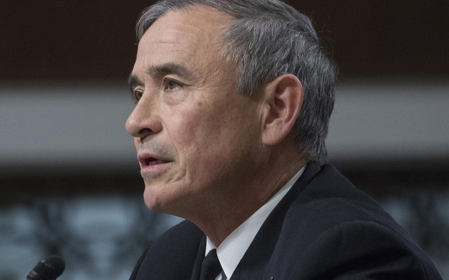 Adm. Harry B. Harris, Jr., commander of the U.S. Pacific Command, testifies at a Senate Armed Services Committee hearing on Capitol Hill, March 15, 2018.