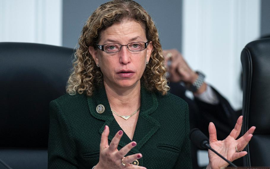 U.S. Rep. Debbie Wasserman Schultz, D-Fla., ranking member of the House Appropriations Subcommittee on Military Construction, Veterans Affairs and Related Agencies listens to testimony from VA Secretary David Shulkin during a hearing on Capitol Hill in Washington, D.C., on Thursday, March 15, 2018. Wasserman Schultz asked Shulkin whether anyone in President Donald Trump's administration was pressuring him to privatize the department.