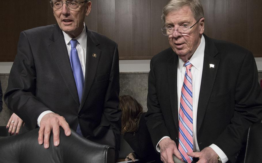 Rep. Phil Roe, R-Tenn., left, chairman of the House Veterans' Service Committee, and Sen. Johnny Isakson, R-Ga., chairman of the Senate Veterans' Affairs Committee.