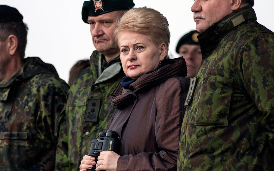 Lithuanian president Dalia Grybauskaite watches a NATO exercise in November 2015. She is one of three Baltic states leaders expected to press President Donald Trump Tuesday for more U.S. military support to defend NATO's borders with Russia, where some allies are concerned about Moscow's military advantage.