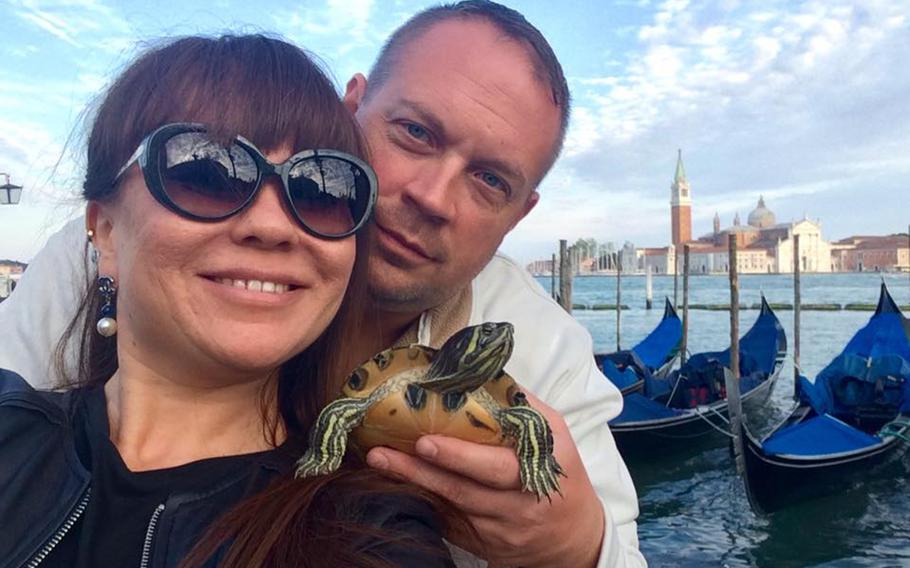 Leila and Bradley Kinser posed with their turtle in a 2016 Facebook photo.