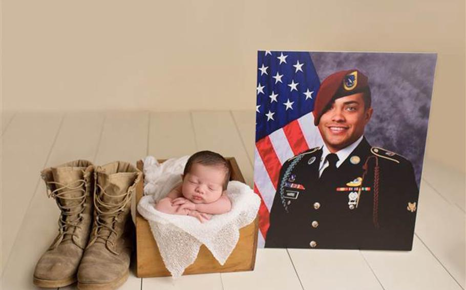 Christian Michelle Harris was photographed with her late father's boots and portrait in her newborn photo session.