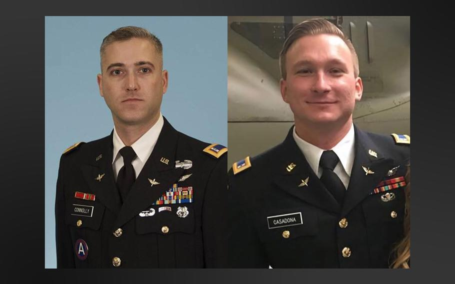 Chief Warrant Officer 3 Ryan Connolly, left, and Warrant Officer James Casadona were killed in a helicopter crash at Fort Campbell, on the Kentucky-Tennessee border on Friday, April 6, 2018.