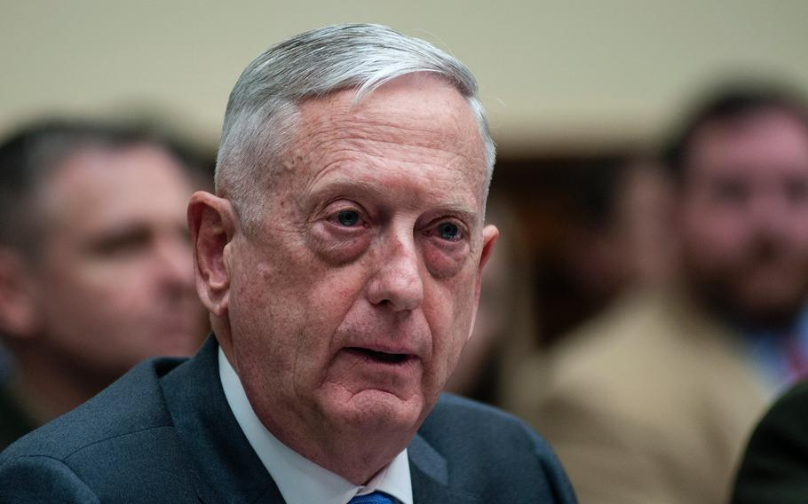 Secretary of Defense Jim Mattis testifies during a House Committee on Armed Services hearing on Capitol Hill in Washington, D.C., on Thursday, April 12, 2018.